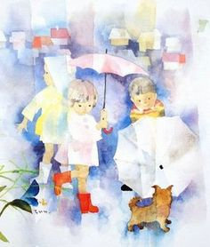 Puppies and children on a rainy day