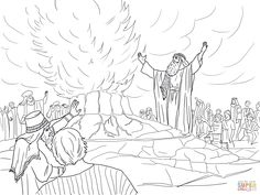 Elijah Called Down Fire from Heaven coloring page from Prophet Elijah category. Select from 22435 printable crafts of cartoons, nature, animals, Bible and many more. Sunday School Crafts For Kids, Bible School Crafts, Bible Lessons For Kids, Bible For Kids, Bible Coloring Pages, Free Printable Coloring Pages, Elijah Bible, Fire Crafts, Kids Church