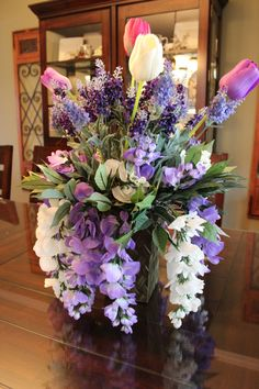 Spring Table Arrangement  Tulips Lavender