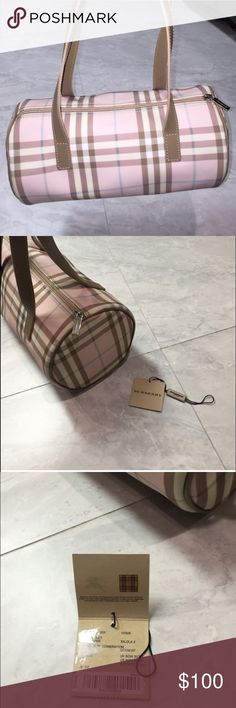 Authentic Burberry Roll Bag Vintage Burberry Roll Bag...new with tags! Never worn. Pink with nude handles and piping. Original tags included Burberry Bags Satchels
