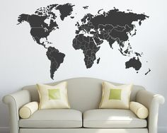 World Map with Countries Borders Vinyl Wall Decal by Zapoart, $34.00