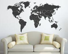 Weltkarte mit Ländern Grenzen Vinyl Wandtattoo von Zapoart auf Etsy