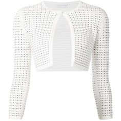 Narciso Rodriguez perforated cropped cardigan ($1,120) ❤ liked on Polyvore featuring tops, cardigans, white, cropped cardigan, white tops, narciso rodriguez, white cropped cardigan and white crop top