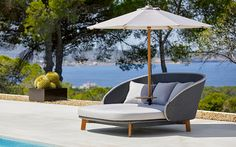 Call for our catalog, sofa material samples & written quotes. Patio Bed, Patio Lounge Furniture, Patio Chaise Lounge, Hotel Lounge, Outdoor Furniture Design, Lounge Seating, Garden Furniture, Furniture Ideas, Contemporary Outdoor Sofas