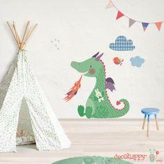 Vinilo infantil Dragón Pillín exclusivo u original que puedes comprar en la tienda online de vinilos infantiles decorativos de pared Decohappy.