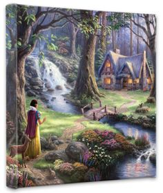 Snow White Discovers the Cottage (Wrapped Canvas) Stretched Canvas Print by Thomas Kinkade at Art.com