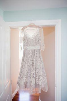BHLDN wedding dress, photo by Joseph + Jaime Photography http://ruffledblog.com/vintage-inspired-ontario-wedding #weddingdress #lace