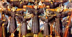 In 1597, werden Paulus Miki en gezellen van zijn zesentwintig gekruisigd vanwege hun christelijke geloof in Nagasaki, Japan.Een Japanse leek, Saint Paul Miki werd geboren in een Japanse adellijke familie en de erfgenaam van een grote erfenis en positie in de Japanse samenleving. Hij was was bekeerd tot het Christendom door Saint Francis Xavier. Toen christelijke missionarissen begon te evangeliseren in Japan, waren ze niet in eerste instantie gehaald met de oppositie. Hun aanwezigheid opende