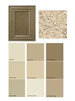 choosing the right paint color, cabinet,countertop combination. Love this taupe, gray combination