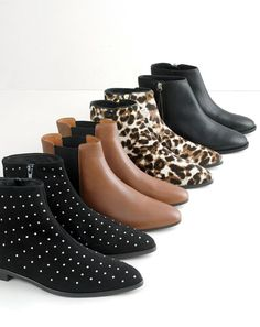 J.Crew women's studded suede ankle boots, Chelsea boots, Collection calf hair ankle boots and Frankie tumbled leather ankle boots.