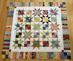 Good for scraps! simple traditional star quilt - pattern by Carrie Nelson in her book Schnibbles Times Two Quilt Baby, Lap Quilts, Scrappy Quilts, Small Quilts, Mini Quilts, Colorful Quilts, Star Quilt Blocks, Star Quilt Patterns, Country Quilts