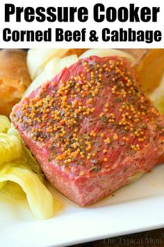 This easy Instant Pot corned beef and cabbage recipe is perfect for St. Patrick's Day or any other day! Moist corned beef brisket is great for dinner. Pressure Cooker Corned Beef, Cooking Corned Beef, Corned Beef Brisket, Corned Beef Recipes, Instant Pot Pressure Cooker, Slow Cooker, Venison, Corn Beef And Cabbage, Cabbage Recipes