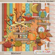 Scrap Your Story: October {Mini Kit} by MemoryClips Columbus Day, Recycled Denim, Smash Book, Your Story, So Little Time, Autumn Leaves, Recycling, Kids Rugs, Thanksgiving Food