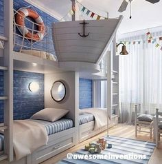 #Ahoy | Child's Bedroom or cute summer house kids room #Nautical #Ship #Anchor