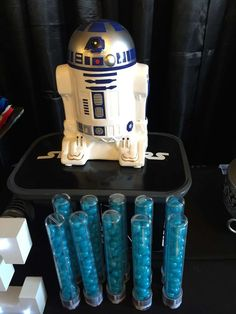 Check out R2-D2 at a Star Wars birthday party! See more party ideas at CatchMyParty.com!