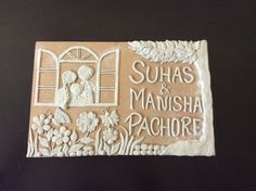 Nameplate , clay work #crafts2dio Door Name Plates, Name Plates For Home, Polymer Clay Crafts, Diy Clay, Name Plate Design, Art N Craft, Mural Art, Ceramic Painting, Wall Plaques