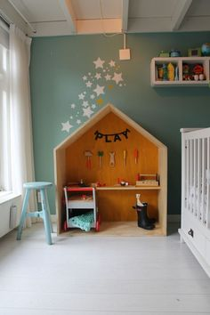 Fantastic plywood indoor playhouse / playroom in a kids room