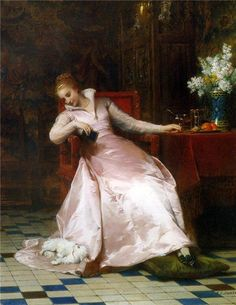"This Painting is from a french Painter, Pierre Charles Comte ( 1823 - 1895 ) and its title is ""Best of Friends"" :-) and is one of my favorites!  I am sure all of you can relate to the young woman and her Maltese, sharing a moment of total communication and union in their Love for each other.  I only have one word for this Masterpiece: Exquisite!"