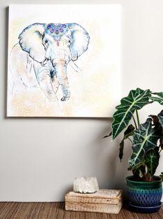 Elephant Watercolor Canvas Art. #earthboundtrading #wallart #homedecor