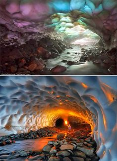 Kamchatka Ice Caves (Russia)  This surreal-looking ice cave is located on the Kamchatka Peninsula of Russia. The almost kilometer long tunnel was formed by a hot water spring flowing beneath the glacial ice fields on the flanks of the nearby Mutnovsky volcano. Because glaciers on Kamchatka volcanoes have been melting in recent years, the roof of this cave is now so thin that sunlight penetrates through it, eerily illuminating the icy structures within.