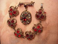 VIntage RED Rhinestone Victorian Brooch and by vintagesparkles, $95.00