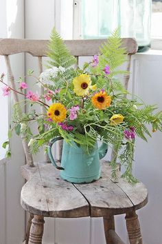 Country farmhouse wildflowers garden old bleached vintage wooden chair chippy metal watering can ♥