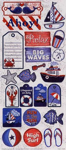 "Item #: CIS0400    Name: Seashore Stickers    Size: 5 1/2"" x 12""    Description: Seashore words, phrases and captions    Price: $1.79"