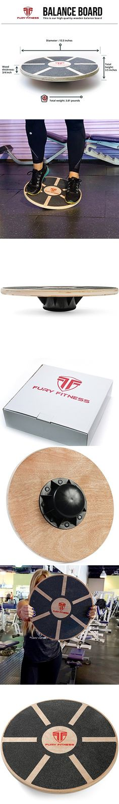 Fury Fitness Wooden Balance Board - Round - Made of Wood - Perfect for Surf Training - Balancing - Rehab - Home Use Wobble Trainer