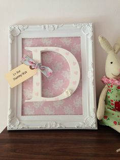 Great new baby gift idea: Beautiful personalised fra. Scrabble Frame, Scrabble Art, Baby Letters, Wooden Letters, Letter A Crafts, Frame Crafts, Initial Crafts, Girl Nursery, Nursery Decor