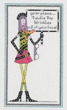 Dolly Mama's Go Braless Counted Cross Stitch Kit-6 X10  14 Count