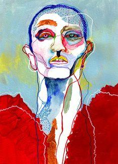 Yves Saint Laurent Yves Saint Laurent<br> Illustration – acrylic markers, acrylic and ink on paper – Not available. Art Inspo, Kunst Inspo, Inspiration Art, Art And Illustration, Fashion Illustration Face, L'art Du Portrait, Art Photography Portrait, Portraits, Art Actuel