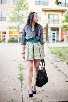 DIY skirt + denim shirt. #fashion