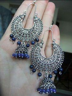 Jewelry OFF! Indian Jewelry Earrings, Silver Jewellery Indian, Jewelry Design Earrings, Bridal Earrings, Vintage Earrings, Fashion Earrings, Jewelery, Fashion Jewelry, Silver Jewelry