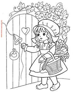 Раскраска Красная шапочка звонит в дверь