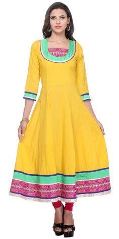 Classy Yellow Cambric Emboridery Kurti.