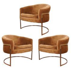 Milo Baughman Chrome Thin Frame  Barrel Chairs (3)