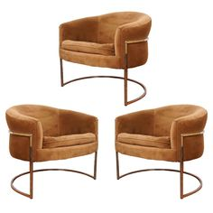 Milo Baughman Chrome Thin Frame  Barrel Chairs (3)