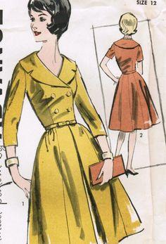 Vintage 1961 Advance 9925 UNCUT Sewing Pattern Misses' Dress Size 12 Bust 32