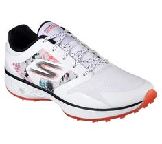 Finish with flying colors and comfort wearing the Skechers GO GOLF Birdie - Tropic shoe. Advanced GOwalk 4 inspired comfort and sporty styling in a spikeless lightweight golf sneaker with Air Max Sneakers, Sneakers Nike, Golf Shop, Most Comfortable Shoes, Womens Golf Shoes, Waterproof Shoes, Ladies Golf, Women Golf