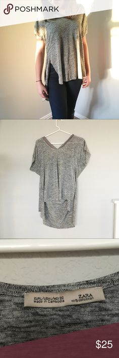 ZARA W\B Collection Longer Back TShirt ZARA W\B Collection Longer Back TShirt  Condition: Preowned but in excellent condition.  Color: Grey  Size: Large  Brand: ZARA Zara Tops Tees - Short Sleeve