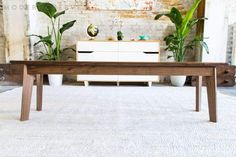 Modern Walnut Bench, Midcentury Modern Bench, Walnut Bench, Dining Table Bench, The Vermonter Large Dining Room Table, Dining Table With Bench, Dining Table In Kitchen, Wood Table, Modern Bench, Mid Century Modern Furniture, Midcentury Modern, Modern Coffee Tables, Quality Furniture