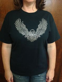 Silver Stud Eagle Wings Ladies Gildan Tee by TheresasCreationsBq, $25.00