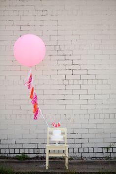 Balloon Tassels: Hot Pink from Etsy - 1st birthday photo shoot