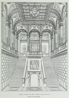Rendering of the Grand Staircase of the Municipal Salons at the Hôtel de Ville, Paris Architecture Antique, Architecture Mapping, Architecture Concept Drawings, Classical Architecture, Historical Architecture, Architecture Design, Architecture Diagrams, Architecture Portfolio, Gothic Drawings