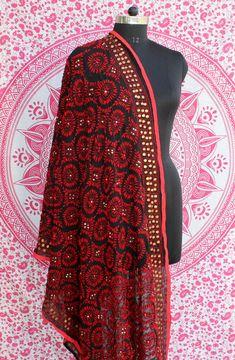 Indian Ethnic Bollywood Women Designer Phulkari Dupatta Indian Wedding Shawl #Handmade #Stole Wedding Shawl, Indian Bollywood, Indian Ethnic, Designing Women, Kurti, Casual Wear, Kimono Top, Embroidery, Cotton