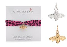 "CINDERELA B Liberty of London ""Fiesta"" Print fabric Wrap Bracelet & Bee Charm 