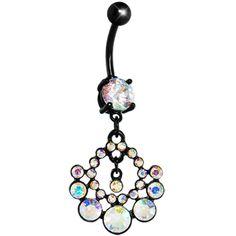 Black Aurora Gem Midnight Sun Circle Belly Ring  #piercing #bodycandy #gift $9.99
