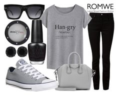 """Casual Sunay With ROMWE Fashion"" by j-n-a ❤ liked on Polyvore featuring moda, CÉLINE, Alexander Wang, Manic Panic, OPI, Givenchy, Converse e Anne Klein"