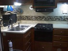 Smart Tiles love to travel… in RV. Invite a few tiles in, stick them over your old backsplash and they will enjoy the ride!