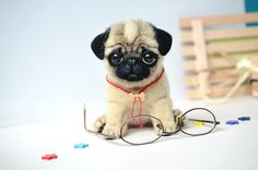 Needle felted pug puppy. Funny cute dog. Realistic animal. Sweet gift. Small toy. Newborn puppy. - pinned by pin4etsy.com